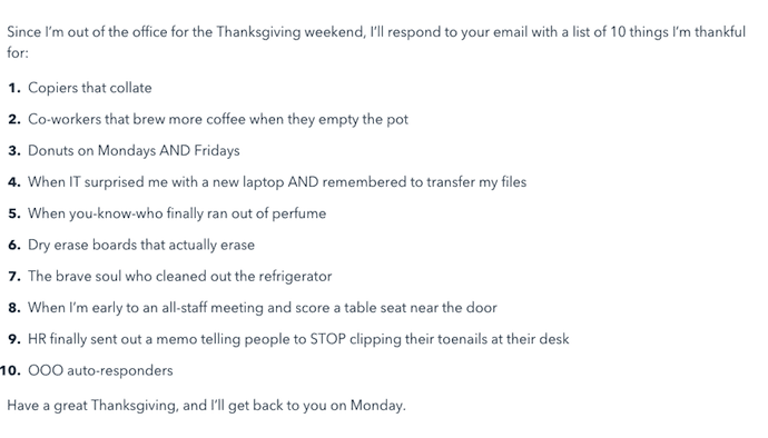 The Thankfulness out of office email template with a list of 10 things the sender is thankful for